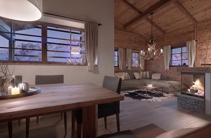 Romantische Hotelzimmer: Chalet Atmosphäre in den Bergen.
