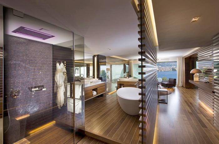 Freistehende Badewannen: Hochmodernes Design mit Aussicht im The View Lugano