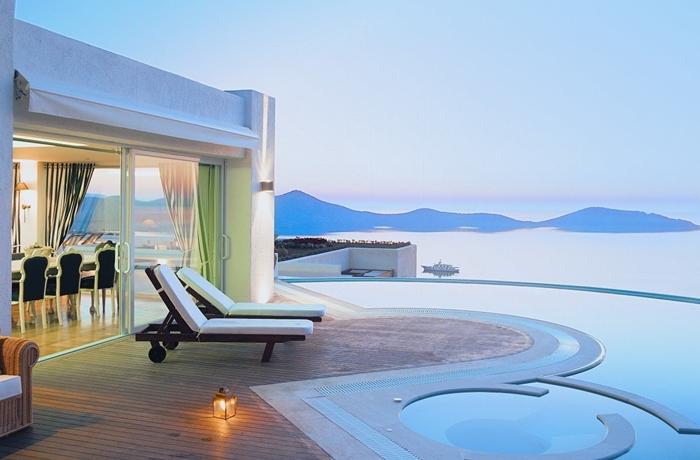 Apartment mit privatem Pool und Meerblick im Elounda Gulf Villas, Kreta, Griechenland