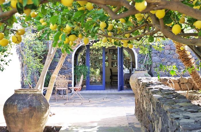 Urlaub auf Sizilien: Entree mit Natursteinmauer und Zitronenbaum
