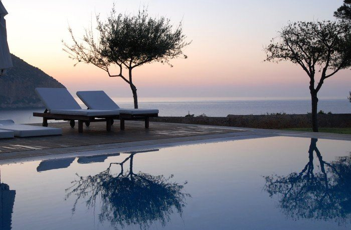 Adults Only Hotel: Infinity Pool bei Sonnenuntergang, Can Simoneta, Mallorca, Spanien