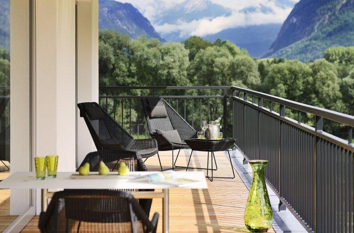 Wellnesshotels Österreich: Blick vom Balkon in den Dolomitengolf Suites in Lavant