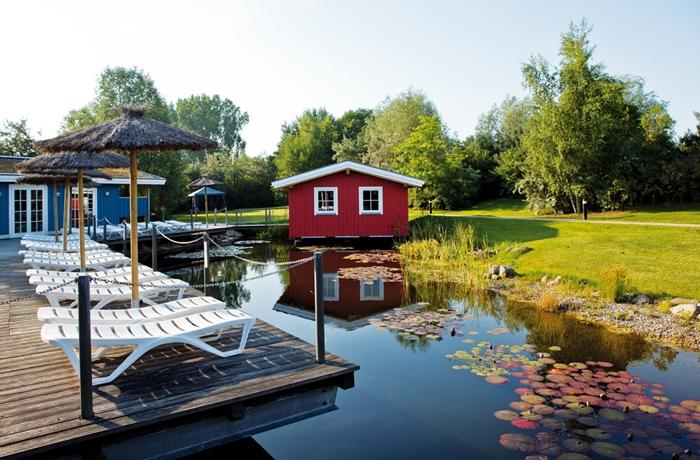 Der schöne Außenbereich mit Teich im WONNEMAR RESORT